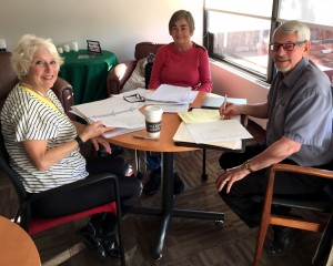 Pictured are St. Andrew's Refugee Chairs Wendy and Marion and Deer Park Church's Bryon Delarue.
